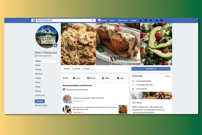 Nashs Restaurant Social Media